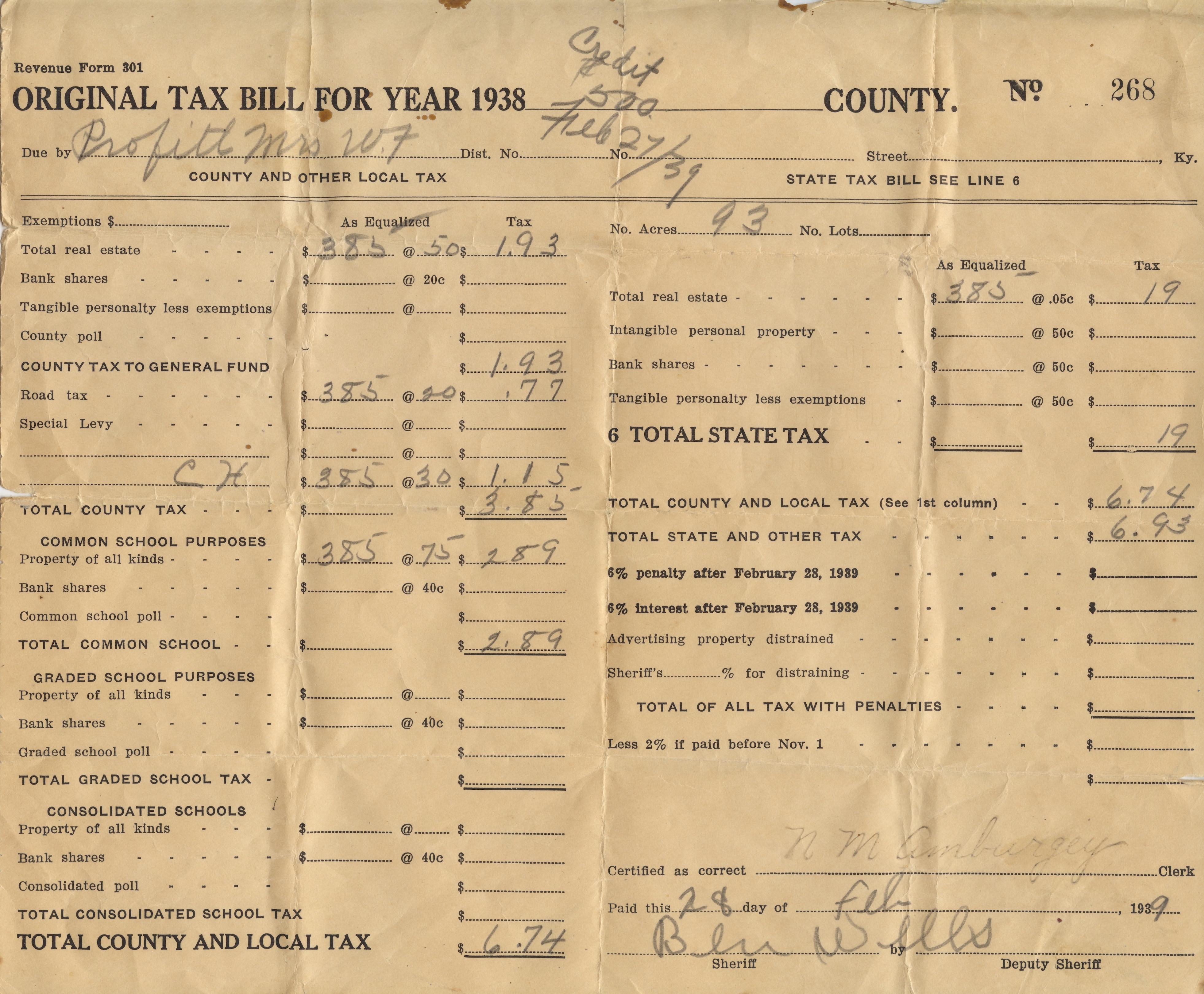 John M Tax Bill 1938